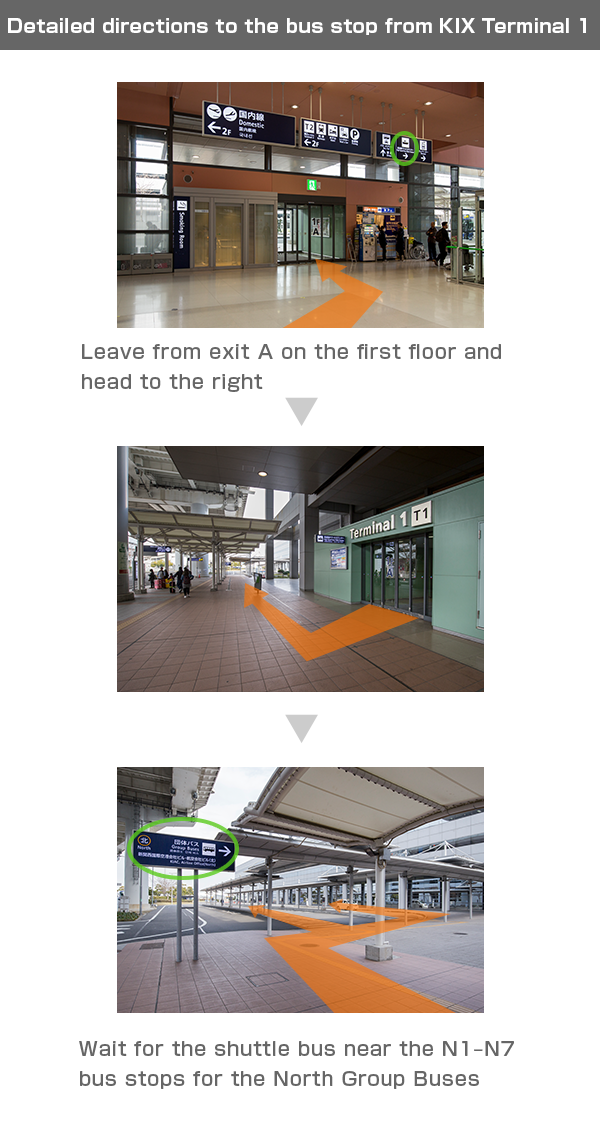Detailed directions to the bus stop from KIX Terminal 1