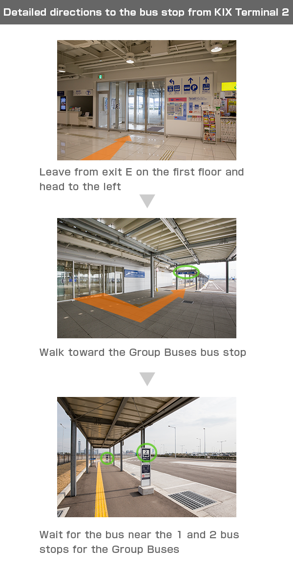 Detailed directions to the bus stop from KIX Terminal 2